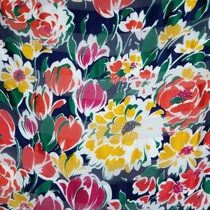 """Floral 100% silk scarf 34"""" square made in France"""